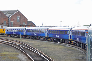 The four ScotRail liveried coaches, along with a DRS liveried BSO, are complete